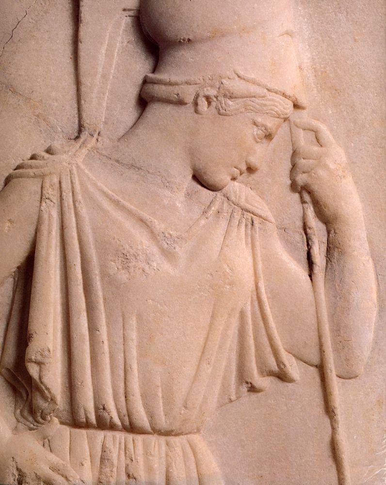 Contemplative Athena - detail -(470 BC, Acropolis Museum,   Athens)