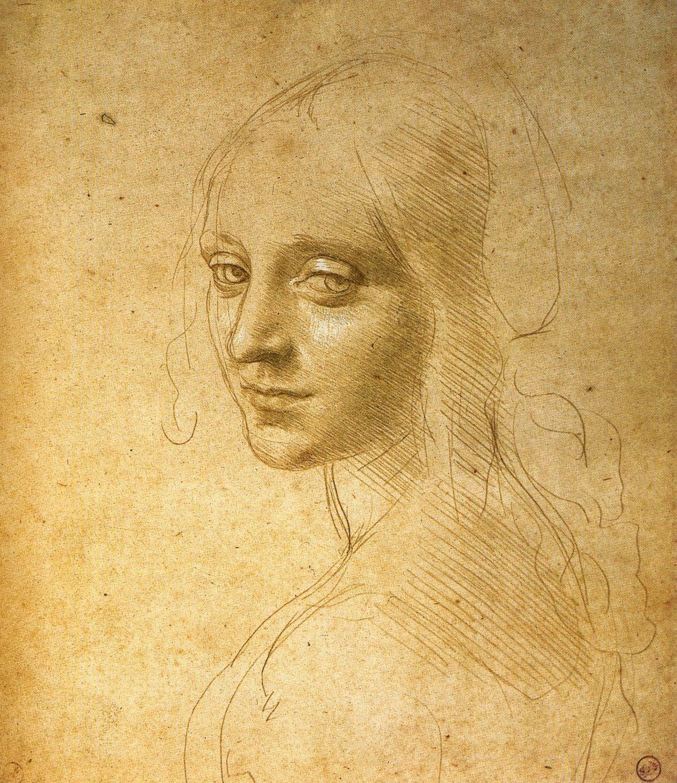 Leonardo da Vinci, Study for Angel, Virgin of the Rocks   (1480s, Biblioteca Reale, Turin)